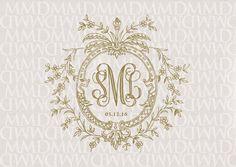 Floral Vines Wreath Wedding Monogram Wedding Logo by merrymint Wedding Logos, Monogram Wedding, Wedding Stationery, Wedding Cards, Wedding Monograms, Wedding Letters, Monogram Design, Monogram Fonts, Monogram Initials