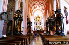 The inside of the Mondsee Abbey, featured in The Sound of Music.
