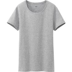 UNIQLO Women Supima Cotton Crew Neck Short Sleeve T-Shirt (395 INR) found on Polyvore featuring women's fashion, tops, t-shirts, grey, grey crew neck t shirt, grey t shirt, short sleeve tee, gray crew neck t shirt and short sleeve t shirts