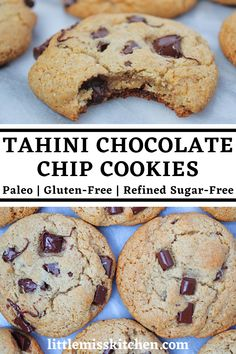Ingredients: 1 cup of tahini 1/3 cup of honey 1 egg 1 teaspoon of vanilla 1 cup of almond flour 1 teaspoon of baking soda a pinch of sea salt 3/4 cup of chocolate chunks