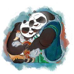 Po with his dads, Mr. Ping and Li Shan. Disney And Dreamworks, Disney Pixar, Po Kung Fu Panda, Ninja, Old Cartoon Network, Dragon Warrior, Old Cartoons, Zootopia, Character Design