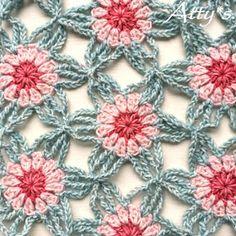 Spring is in the air Shawl pattern by Atty van Norel Ravelry: Le printemps est dans l'air Modèle de châle par Atty van Norel Crochet Motifs, Crochet Squares, Crochet Granny, Crochet Shawl, Crochet Lace, Crochet Stitches, Granny Squares, Love Crochet, Crochet Flowers