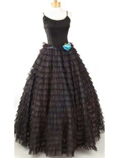 Traffic stopping 1950s vintage formal evening gown with cascading rows of sheer black ruffles over aqua tulle. via Blue Velvet Vintage