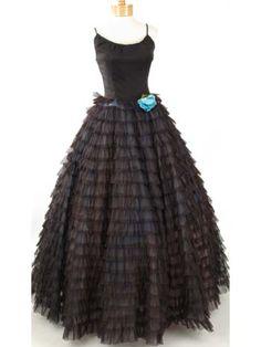 50s Vintage Evening Dresses-1950s Ruffle Black Chiffon Ball Gown-Formal Dress