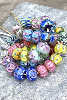 Glass beads made by Anu Luht. Handmade lampwork beads for my trunk show in april Handmade Beads, Unusual Gifts, Glass Design, How To Make Beads, Lampwork Beads, Gifts For Friends, Beaded Jewelry, Glass Art, Glass Beads