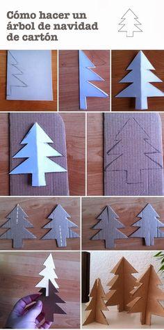 Manualidades Navidad. Árbol de cartón. Christmas craft. http://manualidades.euroresidentes.com/2013/11/como-hacer-un-arbol-de-navidad-de-carton.html