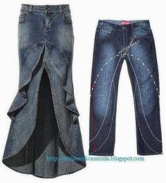 ARTE COM QUIANE - Paps,Moldes,E.V.A,Feltro,Costuras,Fofuchas 3D: transforme calça jeans em saia longa