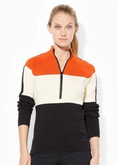 Lauren Active  Striped Mock Neckline Sweater