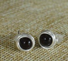 Stud earrings black onyx wire wrap small gemstone studs | Etsy Wire Wrapped Earrings, Small Earrings, Stud Earrings, Handmade Market, Pink Agate, Earrings Photo, Minimalist Jewelry, Black Onyx, Babyshower