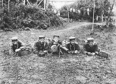 A five-man German machine gun crew. All were killed at Zonnebeke, Belgium on 4th October, 1917.