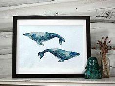 Современная акварель для начинающих: учимся рисовать китов - Ярмарка Мастеров - ручная работа, handmade
