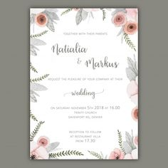 Wedding invitation template with pastel flowers Free Vector Wedding Invitation Templates, Wedding Invitations, Pastel Flowers, Vector Free Download, Wedding Cards, Reception, Projects, Invitation Background, Wedding Card