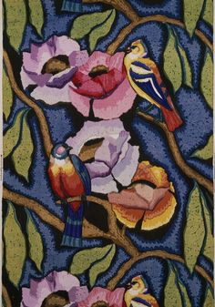 Furnishing fabric, England 1920-25. Designed by Minnie McLeish (1920-25) for William Foxton Ltd. (manufacturer) | Roller printed cotton. Large scale leafing and flowering stems with parrots in a painterly style in reds, oranges, pinks, yellows, blues, greens and browns | VA Museum, London
