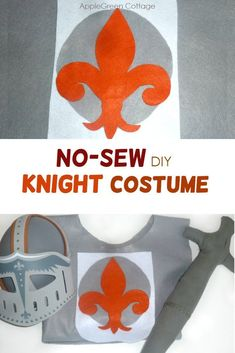 Easy DIY Knight Costume (No-Sew Tutorial) Want to make a super easy knight costume for kids in a really short time? Here's one your kids wi Halloween Sewing, Fall Sewing, Easy Halloween Costumes, Sewing For Kids, Halloween Kids, Halloween Crafts, Costume Ideas, Diy Knight Costume, Knight Costume For Kids