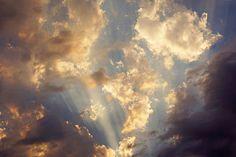 Celestial Heavenly Twilight Sunset Clouds art prints, Blue Sky Sun rays canvas prints, Framed artwork decorative glowing skies White orange clouds evening sky. Baslee Troutman Fine Art prints Galleries.