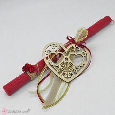 Πασχαλινή λαμπάδα με ξύλινη καρδιά Washer Necklace, Bracelets, Leather, Jewelry, Jewlery, Jewerly, Schmuck, Jewels, Jewelery
