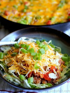 Delicious Skillet Beef and Bean Taco Casserole.  Yummy all by itself, or on a bed of lettuce.