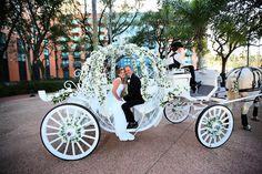 Disney World Wedding, Disney Bride, Cinderella Wedding, Disney Weddings, Fairytale Weddings, Themed Weddings, Intimate Weddings, Horse And Carriage Wedding, Horse Wedding