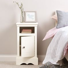 Sweetheart by name, sweetheart by nature, this pretty Sweetheart children's bedside cabinet - silk white (left hinges) guarantees sweet dream. Childrens Bedroom Storage, Childrens Bookcase, Kids Bedroom, White Bedroom Furniture, Bedroom Decor, Bedroom Ideas, Kids Bedside Table, Bedroom Cupboard Designs, Bunk Bed Designs