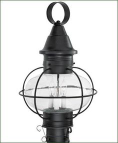 """Vidalia Onion Post Mount - A New England favorite onion lantern with clear glass. Four color choices - three brass finishes and a natural copper. Due to manufacturer's product change this lanternis sold with a single medium socket (not the 3 candelabras pictured). Medium, 11 3/8"""""""" W. 15 5/8"""""""" H. Large, 14"""""""" W. 22"""""""" H."""