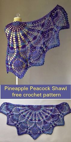 Shawl Patterns 613122936757721631 - Pineapple Peacock Shawl [Free Crochet Pattern] Source by One Skein Crochet, Crochet Shawl Free, Crochet Wrap Pattern, Crochet Shawls And Wraps, Crochet Scarves, Crochet Clothes, Crochet Hats, Crochet Patterns For Scarves, Doilies Crochet