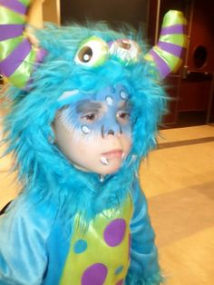 My son dressed up like a monster and with his monster make-up on