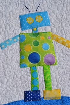 Robot block, in: A Boy Story quilt at Seams Sew Together. Pattern by Anni Downs. Quilt Festival, Quilt Baby, Boy Quilts, Applique Patterns, Applique Quilts, Quilt Patterns, Quilting Projects, Quilting Designs, Sewing Projects