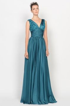 Winter Spring Pear Beach Floor Length Draped Long Sequined Mother Of The Bride Dress