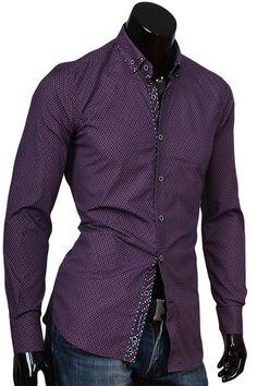 Купить Темно бордовая приталенная сорочка с двойным комбинированным воротником фото недорого в Москве