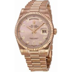 Rolex Day-Date Champagne Dial 18K Everose Gold President Automatic... ($37,050) ❤ liked on Polyvore featuring jewelry, watches, accessories, gold crown, water resistant watches, 18k watches, 18 karat gold jewelry and yellow gold watches