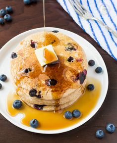 Fluffiest Homemade Whole Wheat Buttermilk Pancakes - EVERYONE that's made it says they are the BEST! #pancakes #wholewheatpancakes #buttermilkpancakes   Littlespicejar.com