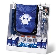 Use a small portable store to display your school store items. Take the store to large events at your school and set it up on a table in high traffic areas.