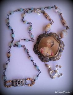 Antique Cameo Pendant Repurposed Rhinestone Blue by WinterPearls, $105.00