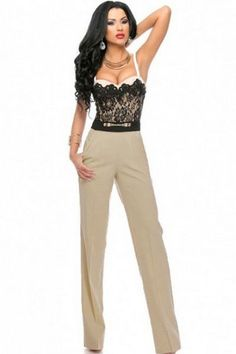 Prix: €19.36 Chasubles & Grenouilleres Sweetheart Dentelle Top Trendy Jumpsuit Modebuy.com @Modebuy #Modebuy #CommeMontre #sexy #me #dress