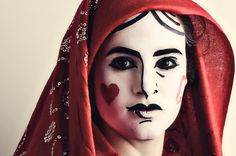 playing card makeup - queen of hearts