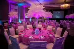 Bat Mitzvah Centerpieces, White Ostrich Feathers with Pink LED Lights, Crystal & Sparkles {Stillmedia} - mazelmoments.com