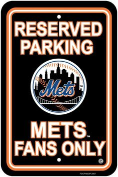 New York Mets Plastic Parking Sign