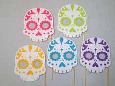 5 Sugar Skull Photo Booth Props - Day of the Dead Photo Booth - Dia de los Muertos Photo Booth by CleverMarten on Etsy