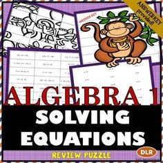 Unique activity for reviewing Solving Equations (Two-Step, Multi-Step, Variables on Both Sides) Jigsaw Puzzle for Pre-Algebra, Algebra and Grometry.