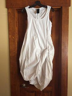 Rundholz Black Label White Cotton Dress Artsy Hem Line Must See #Rundholz #AsymmetricalHem
