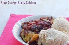 Slow cooker berry cobbler, a simple, healthy, easy, low fat summer slow cooker dessert, low calorie, 160 calories, 4 Weight Watchers Points Plus