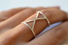 X silver and gold geometric ring