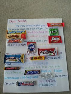 Retirement Candy Bar Card Scout leaders who retire? Candy Bar Poems, Candy Bar Cards, Candy Bar Sayings, Candy Quotes, Birthday Candy Posters, Candy Birthday Cards, Birthday Gifts, 90th Birthday, Friend Birthday