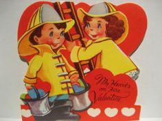 Vintage Valentine Card Boy Girl Fireman Firefighter My Hearts on Fire Unused | eBay