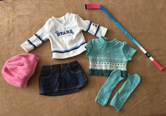 Mia 2 in 1 skating outfit hockey stick American Girl doll clothing outfit GOTY #AmericanGirl #ClothingShoes