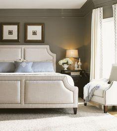 Kensington Place Chadwick Upholstered Bed | Lexington Home Brands | paint color BM 1469 Eagle Rock
