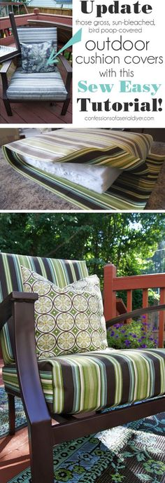 Sew Easy Outdoor Cushion Covers (Part Update your Outdoor Cushion Covers with this SEW SUPER EASY cushion cover tutorial from Confessions of a Serial Do-it-Yourselfer How To Make Pillows, Decor, Furniture, Diy Outdoor Cushions, Outdoor Decor, Cushion Design, Diy Outdoor, Outdoor Cushion Covers, Outdoor Furniture