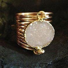 Kami Lerner - White Druzy Wire Wrap Ring