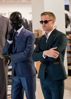 Ryan Gosling in Crazy Stupid Love.  I can appreciate an attractive/well-dressed man when I see one!  No man has ever looked so sexy in a suit and Wayfarers.