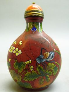Chinese Hand Painted Flower & Bird & Katydid Pattern Glass Snuff Bottle